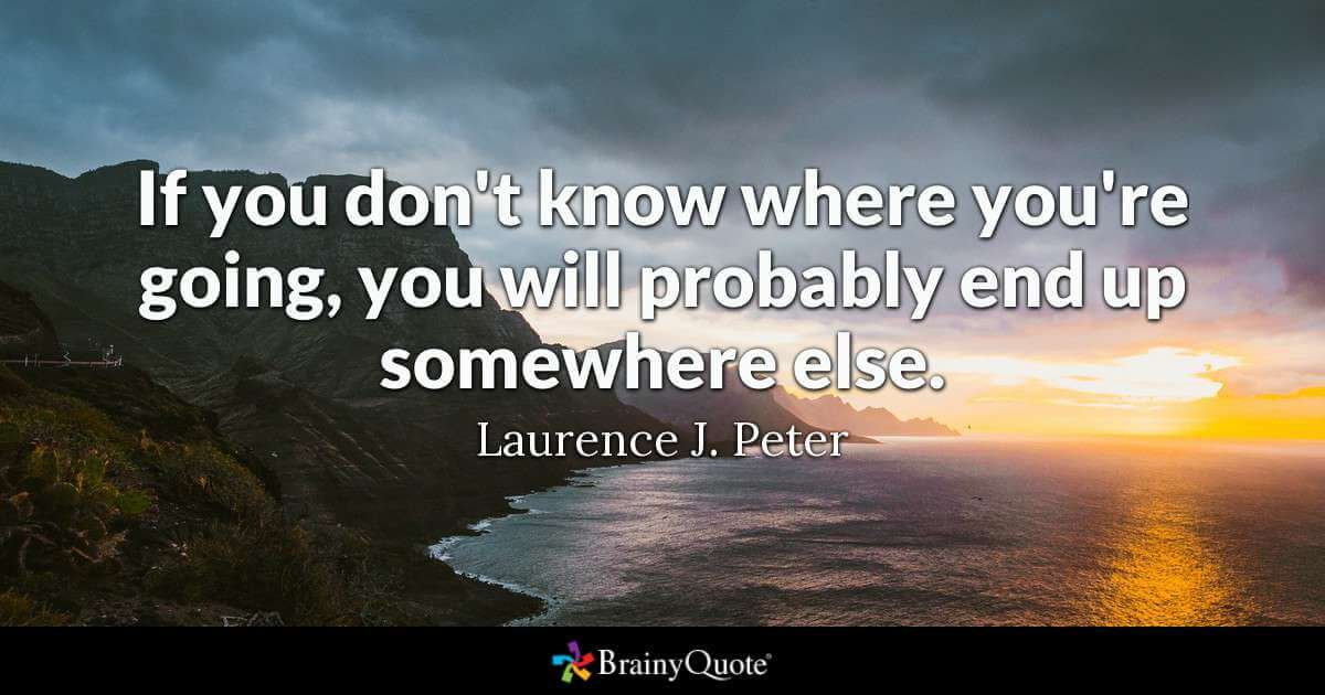 If you don't know where you're going, you will probably end up somewhere else